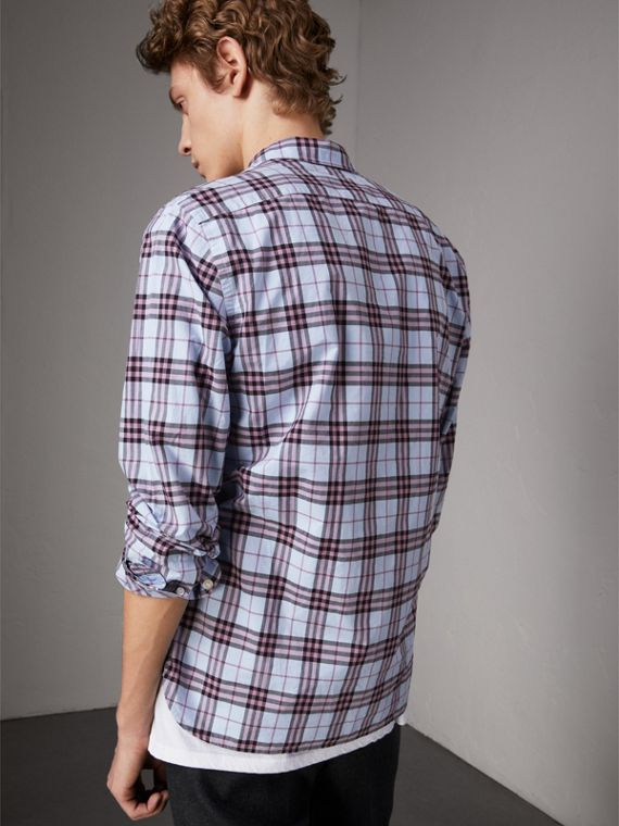 Check Cotton Shirt in Lavender Blue - Men | Burberry Australia - cell image 2