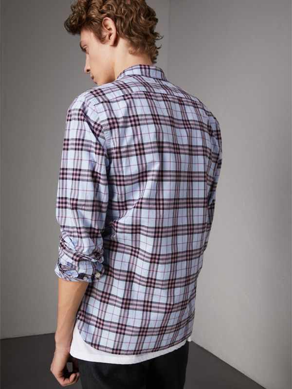 Check Cotton Shirt in Lavender Blue - Men | Burberry - cell image 2