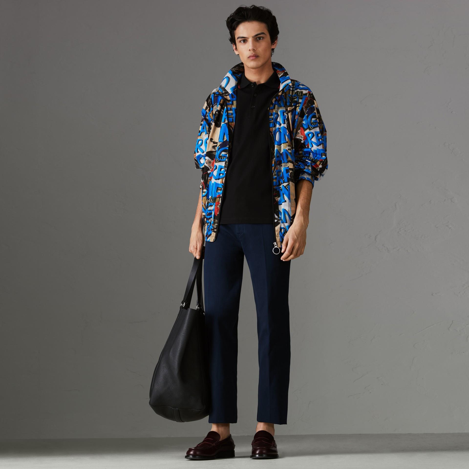 Camisa polo de algodão piquê com logo do acervo (Preto) - Homens | Burberry - galeria de imagens 0