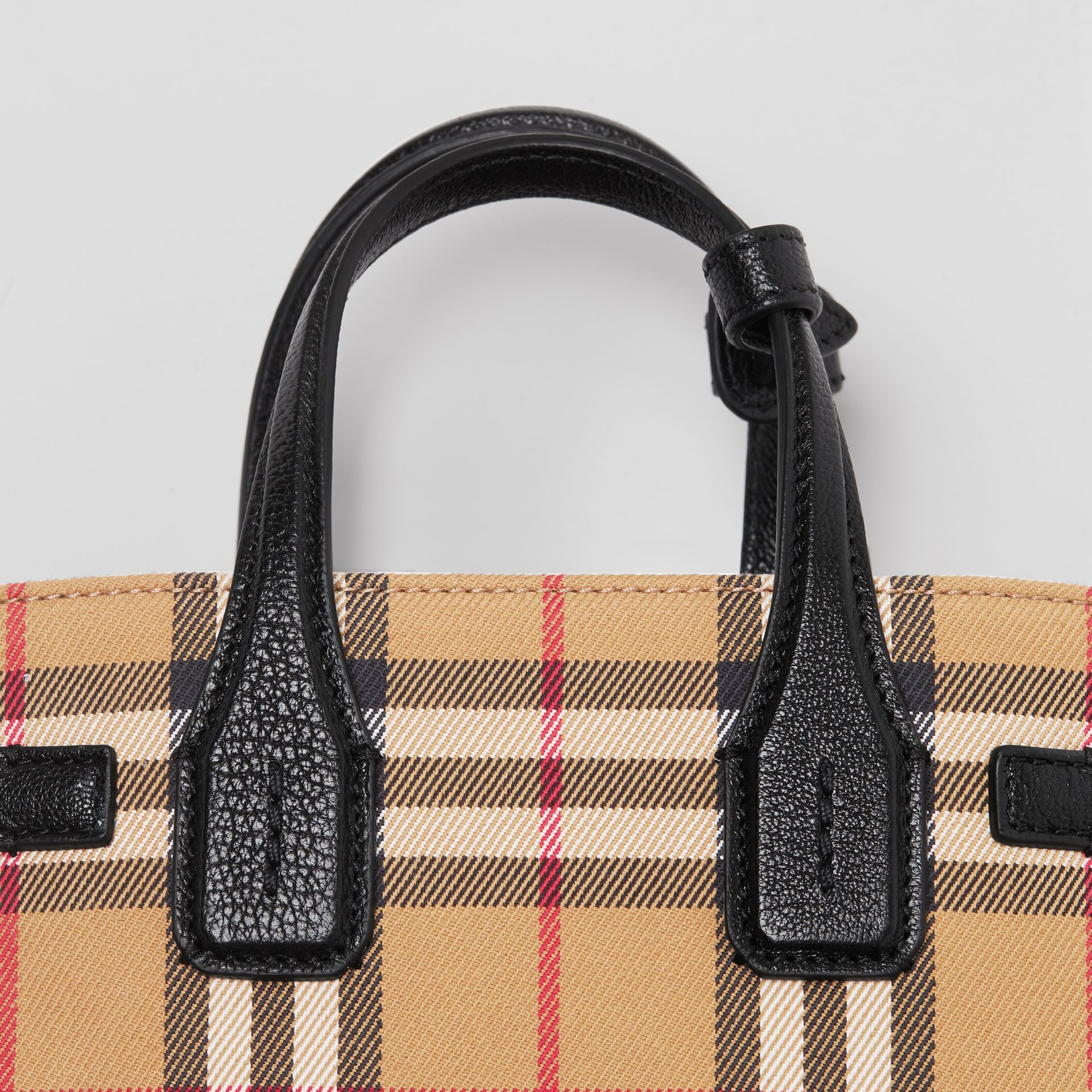 The Baby Banner in Vintage Check and Leather in Black - Women | Burberry Australia - gallery image 1