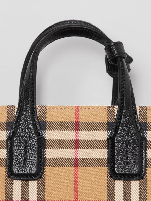 The Baby Banner in Vintage Check and Leather in Black - Women | Burberry Australia - cell image 1
