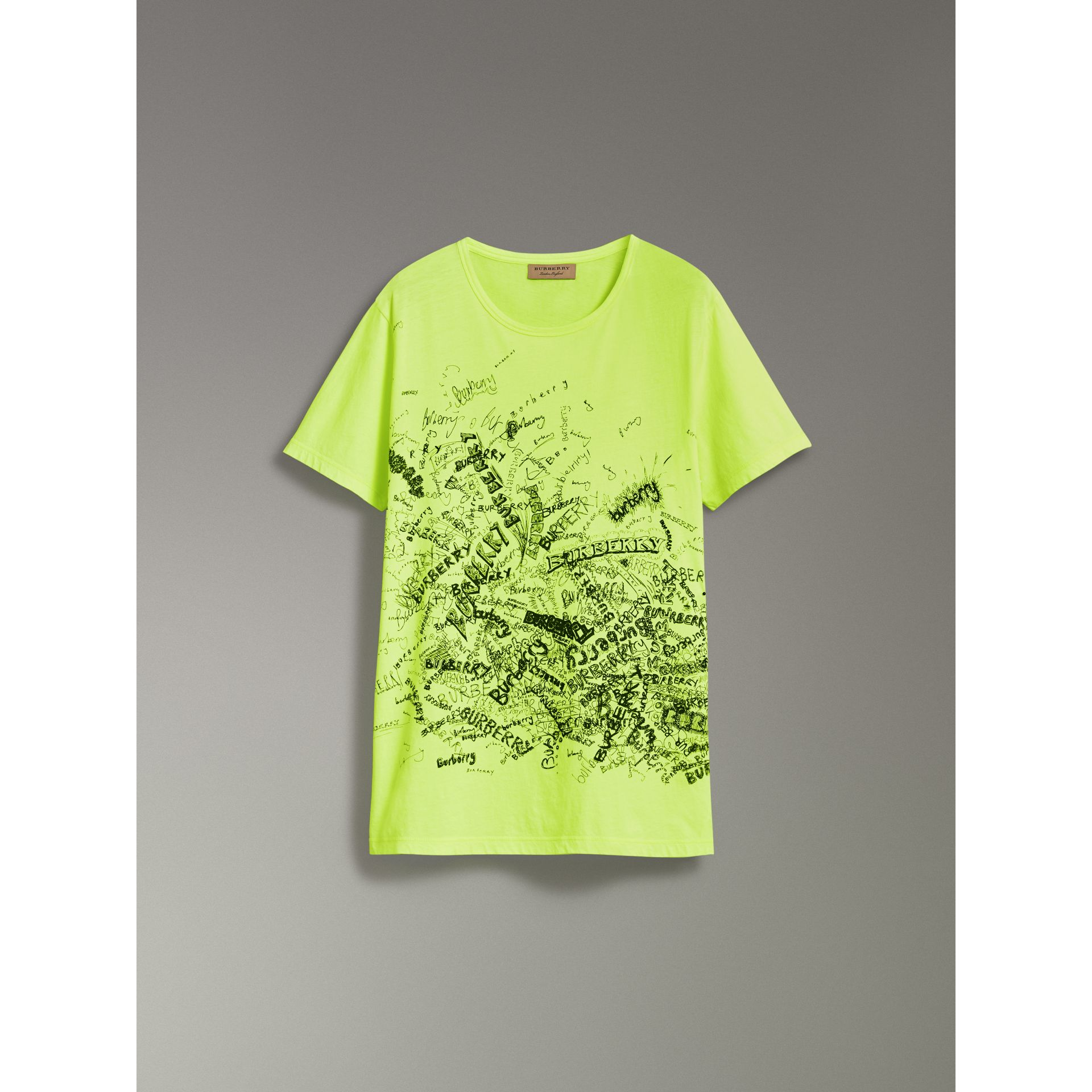 Doodle Print Cotton T-shirt in Bright Lemon - Men | Burberry Singapore - gallery image 3