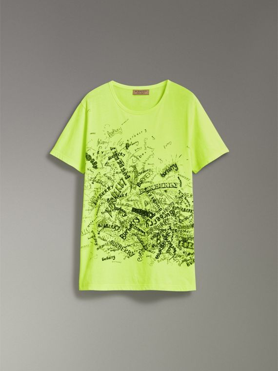 Doodle Print Cotton T-shirt in Bright Lemon - Men | Burberry - cell image 3