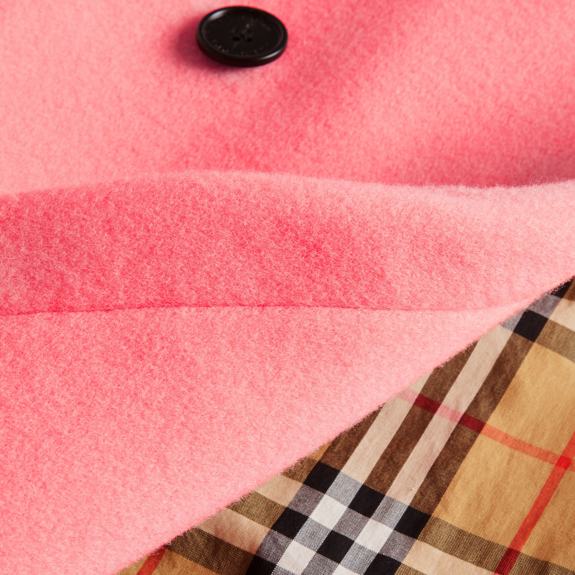 Double-faced Wool Cashmere Cocoon Coat in Bright Coral Pink | Burberry - gallery image 7