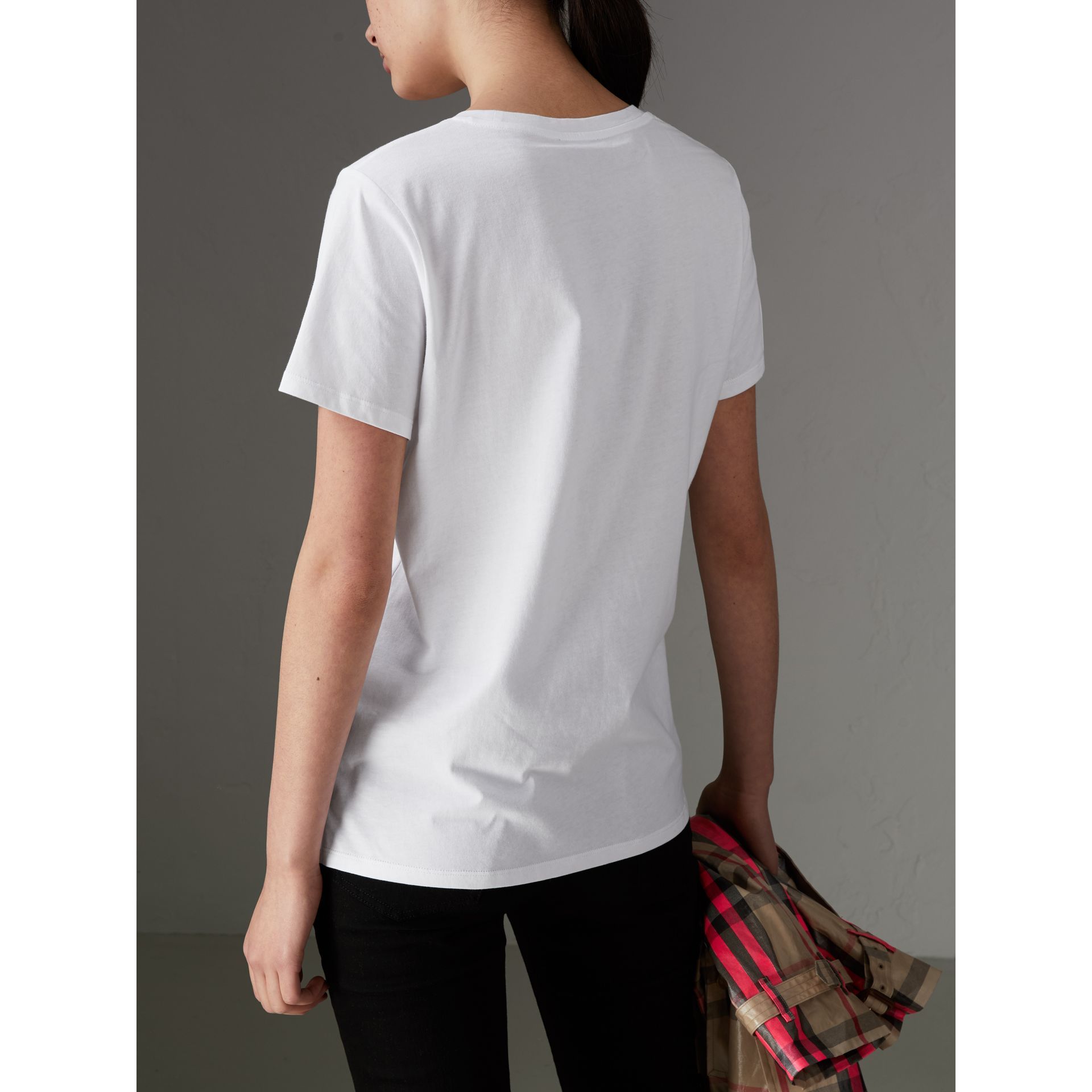 Printed Cotton T-shirt in White - Women | Burberry - gallery image 2