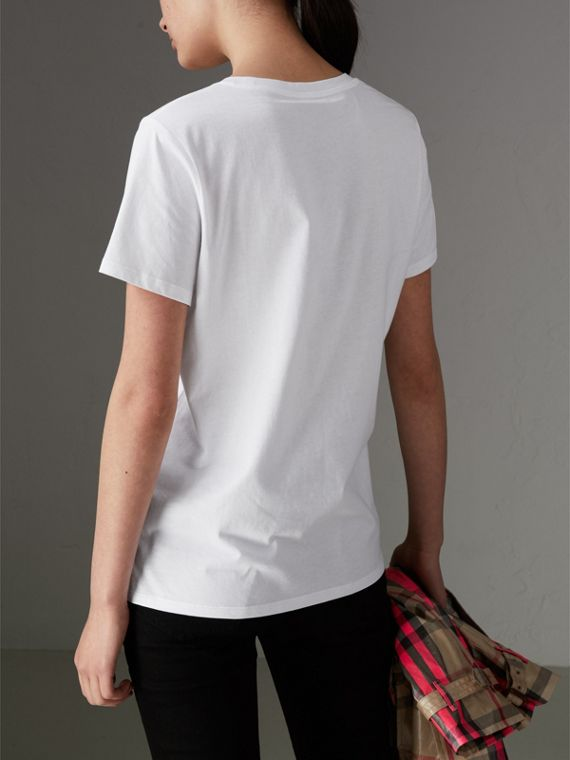 Printed Cotton T-shirt in White - Women | Burberry Hong Kong - cell image 2