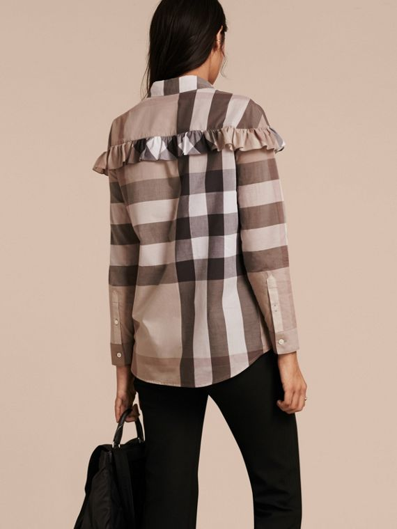 Check Cotton Frill Detail Shirt in Pale Stone - cell image 2