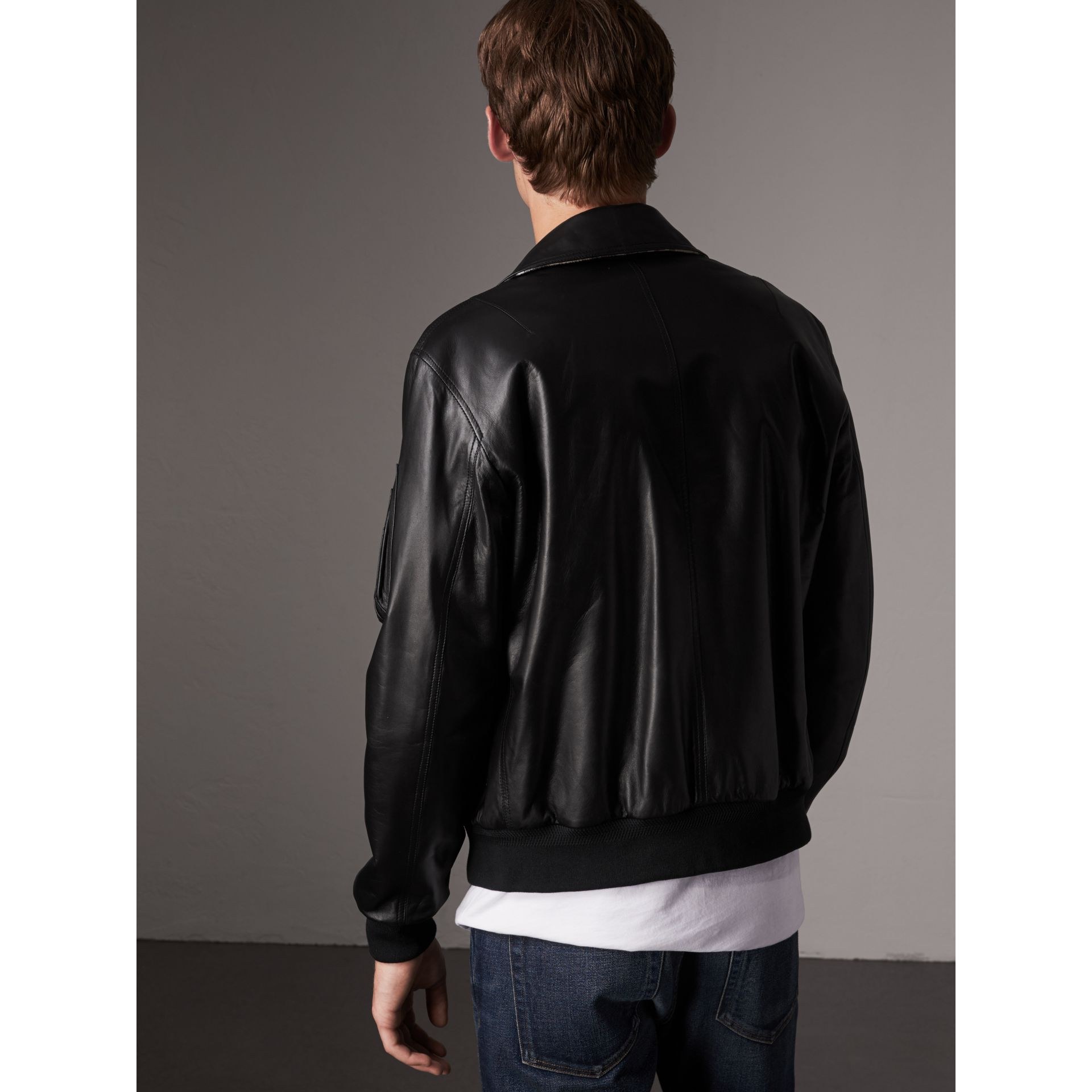 Point Collar Lambskin Bomber Jacket in Black - Men | Burberry - gallery image 3