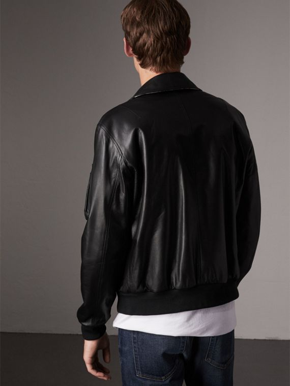 Point Collar Lambskin Bomber Jacket in Black - Men | Burberry United Kingdom - cell image 2