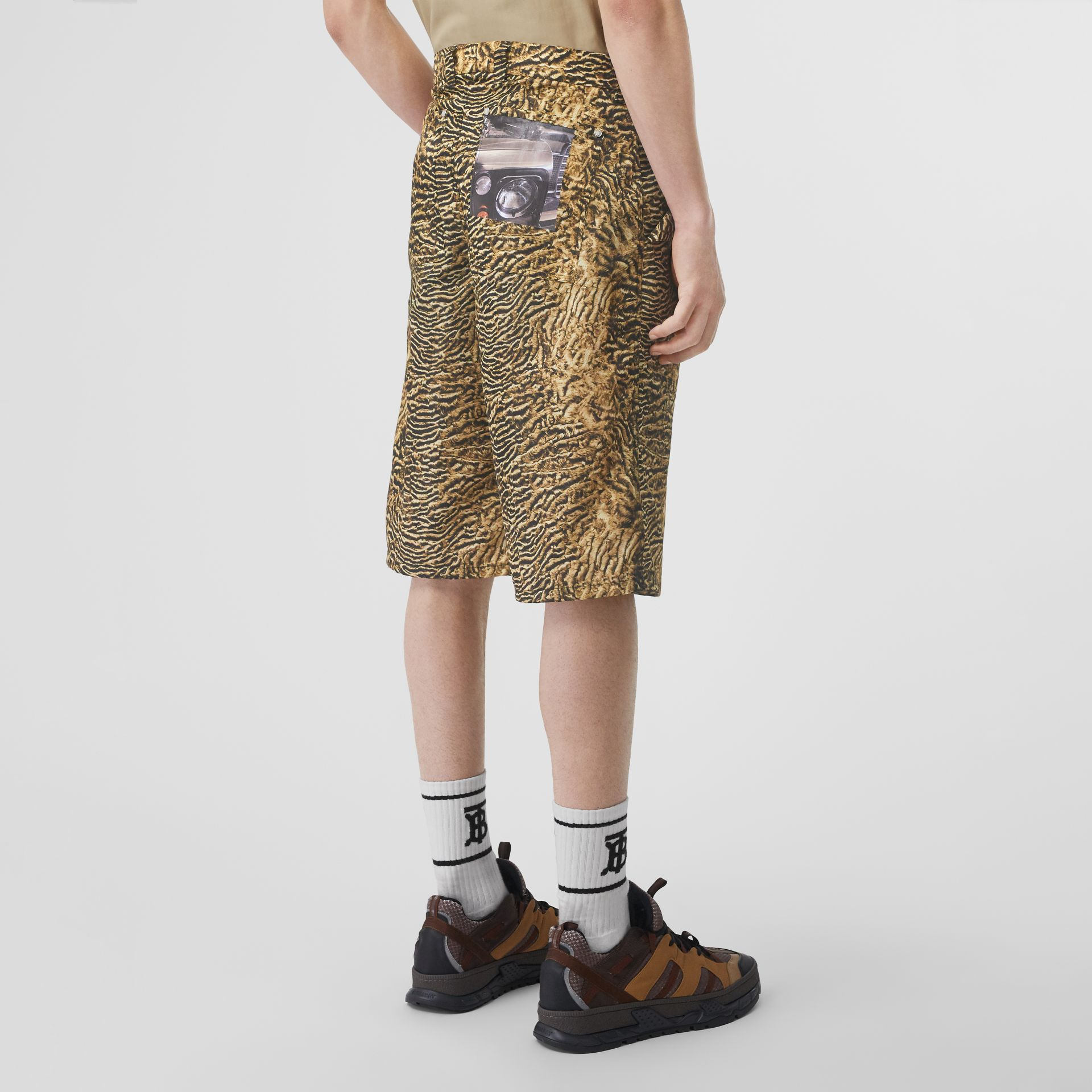 Tiger Print Nylon Shorts in Beige | Burberry - gallery image 2