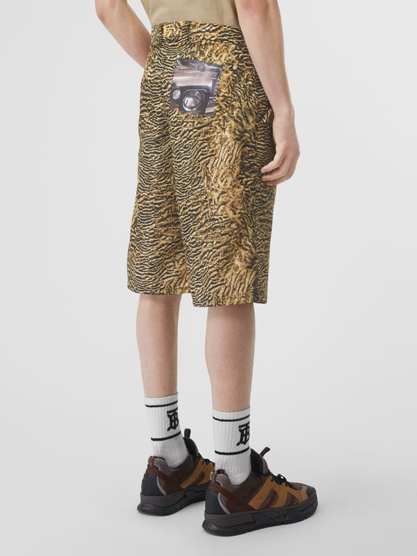 Tiger Print Nylon Shorts in Beige | Burberry - cell image 2