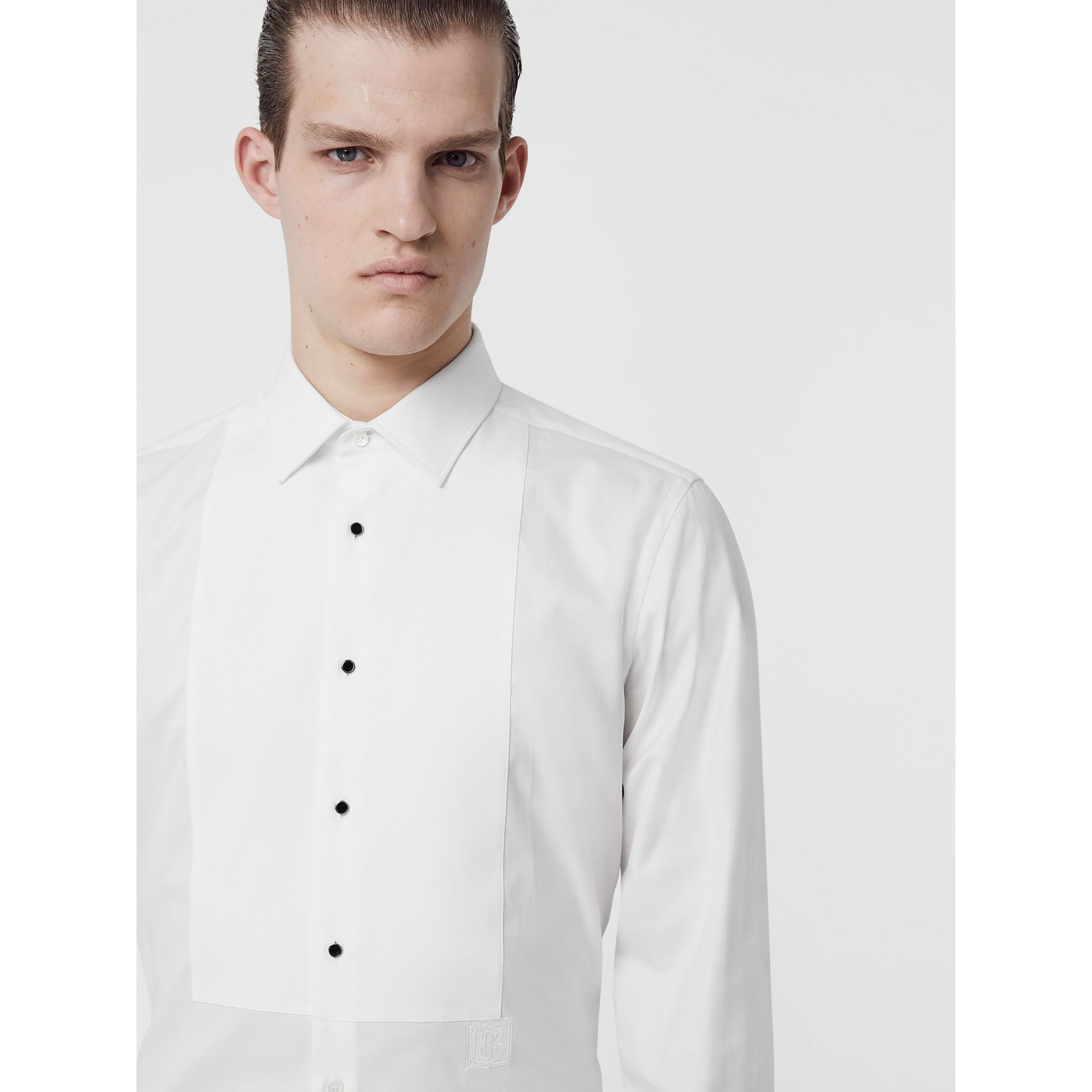 Panelled Bib Cotton Oxford Dress Shirt in White - Men | Burberry Singapore - gallery image 1