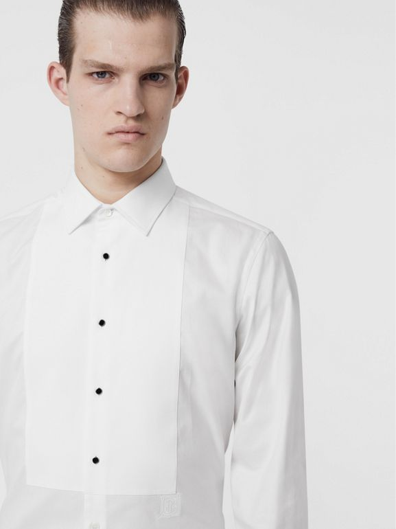 Panelled Bib Cotton Oxford Dress Shirt in White - Men | Burberry Singapore - cell image 1