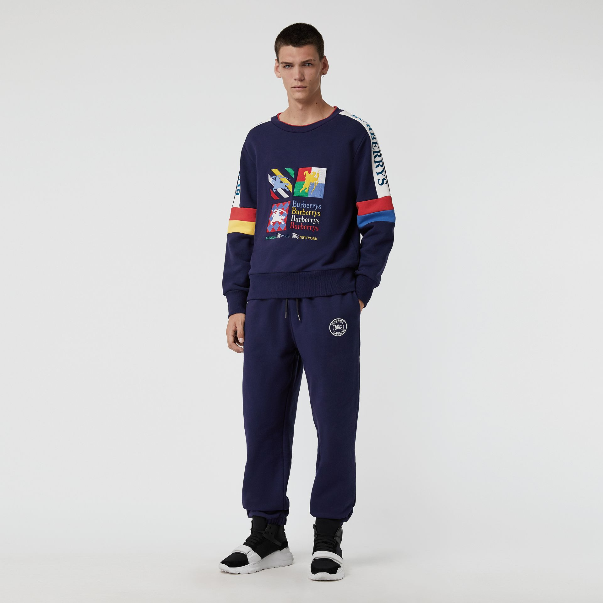 Colour Block Embroidered Archive Logo Sweatshirt in True Navy - Men | Burberry Australia - gallery image 0
