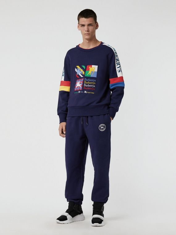 Colour Block Embroidered Archive Logo Sweatshirt in True Navy