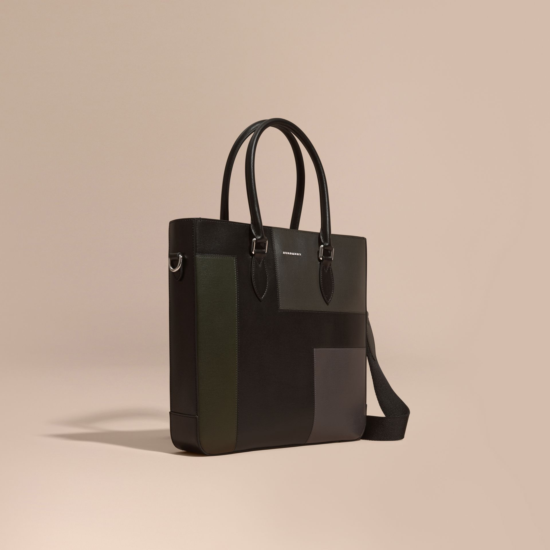 Black Patchwork London Leather Tote Bag - gallery image 1