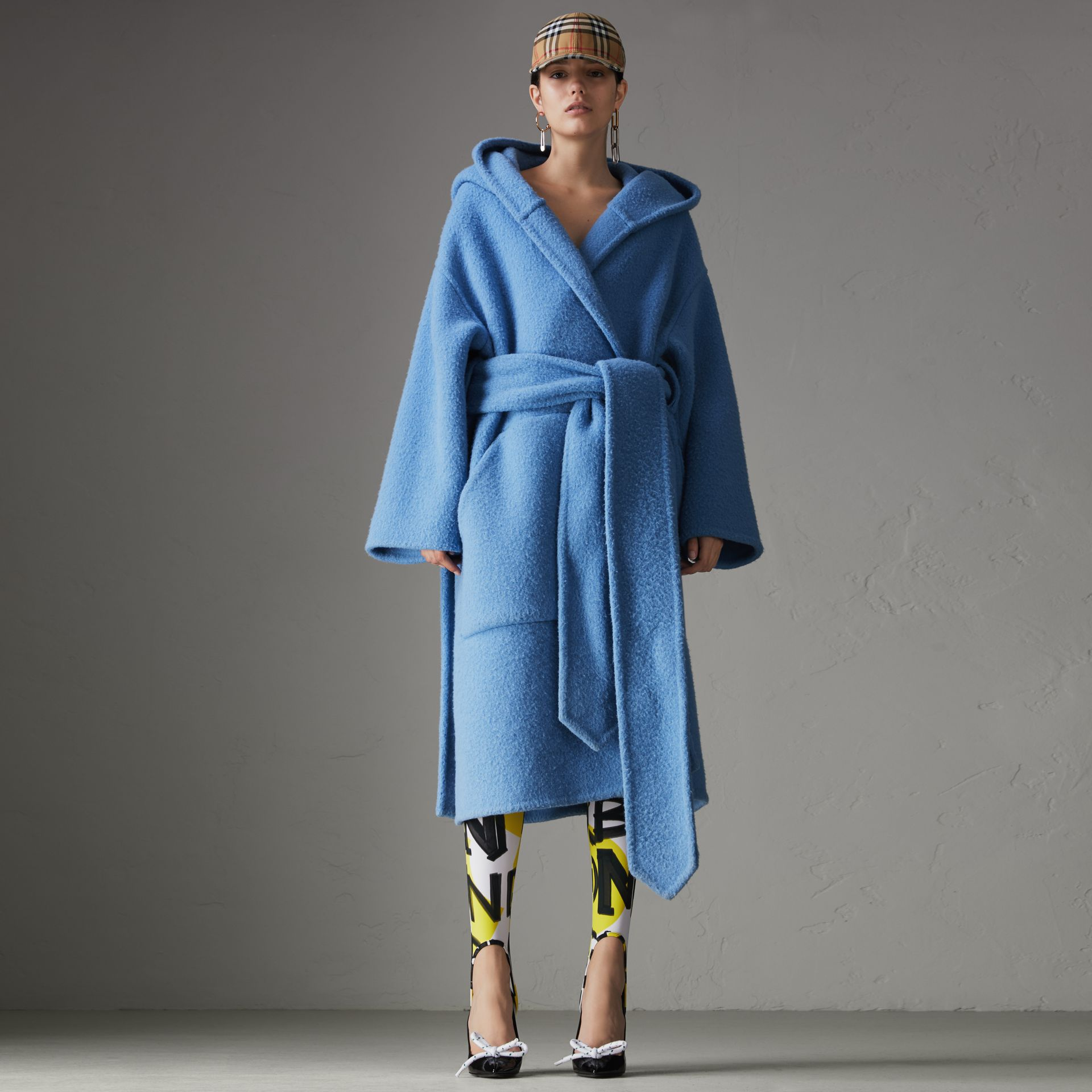 Alpaca Wool Blend Dressing Gown Coat in Hydrangea Blue - Women | Burberry Canada - gallery image 0
