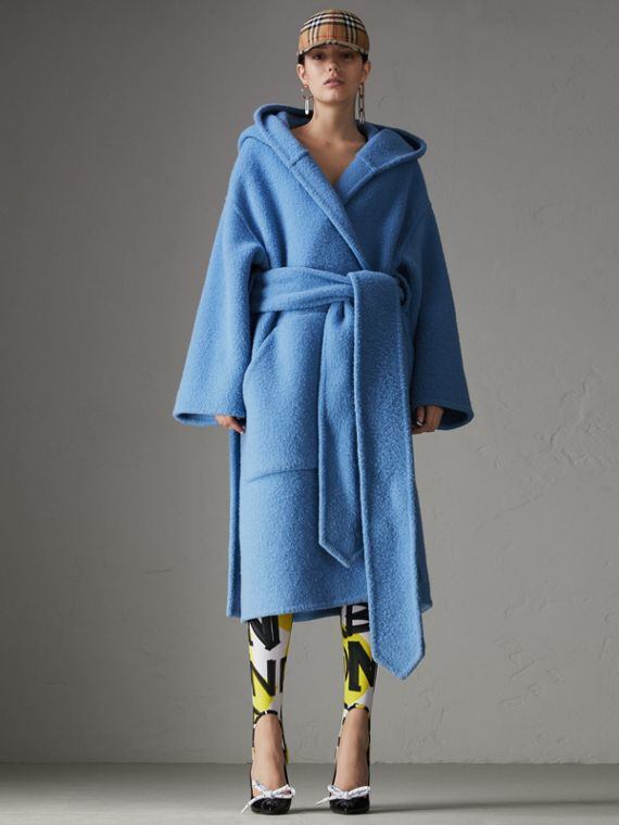 Alpaca Wool Blend Dressing Gown Coat in Hydrangea Blue