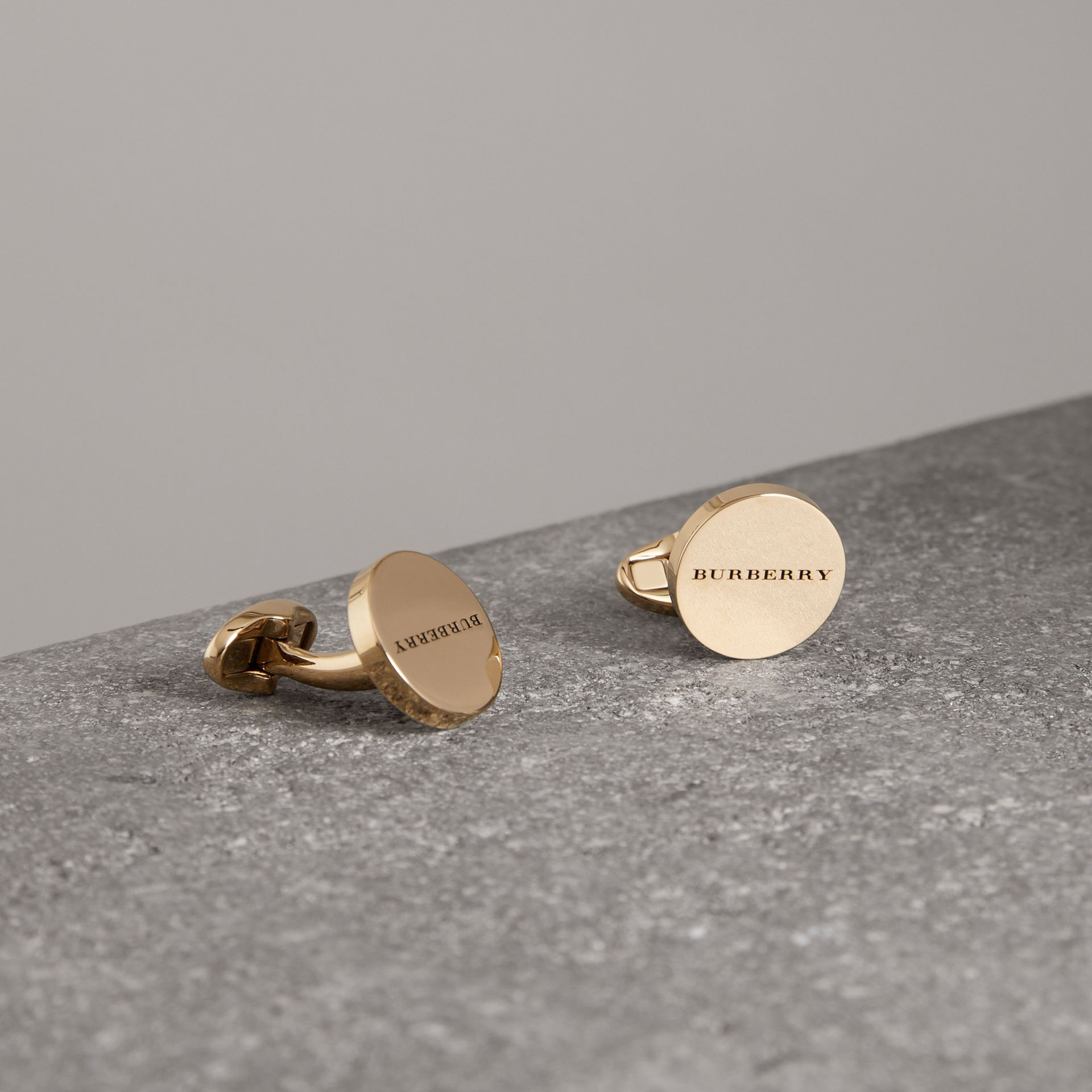 Engraved Bronze Cufflinks in Light Gold - Men | Burberry United Kingdom - gallery image 0