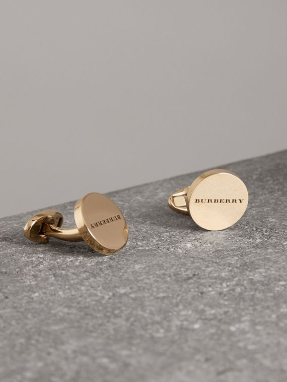 Engraved Bronze Oval Cufflinks in Light Gold