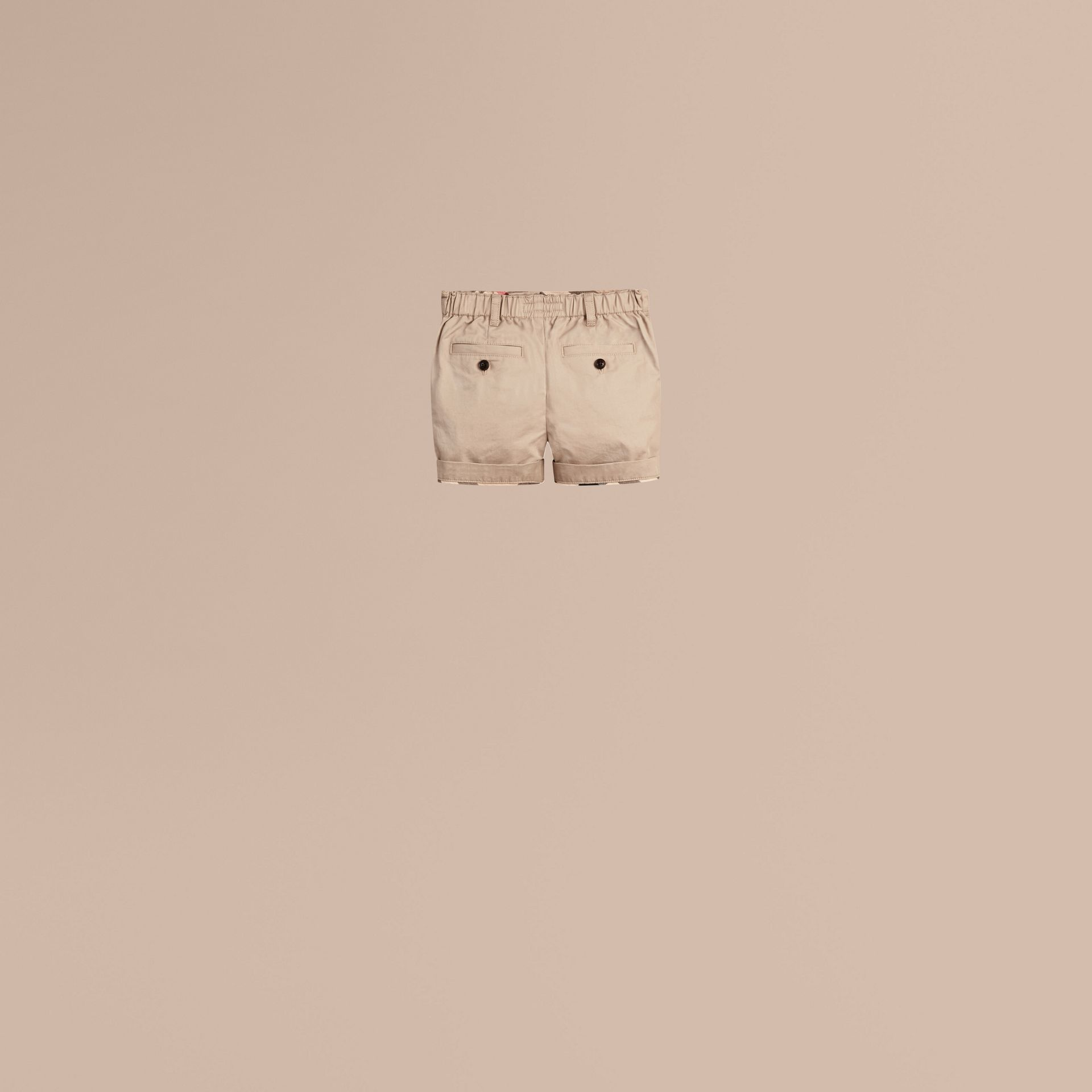 Check Detail Cotton Chino Shorts in Taupe - gallery image 4