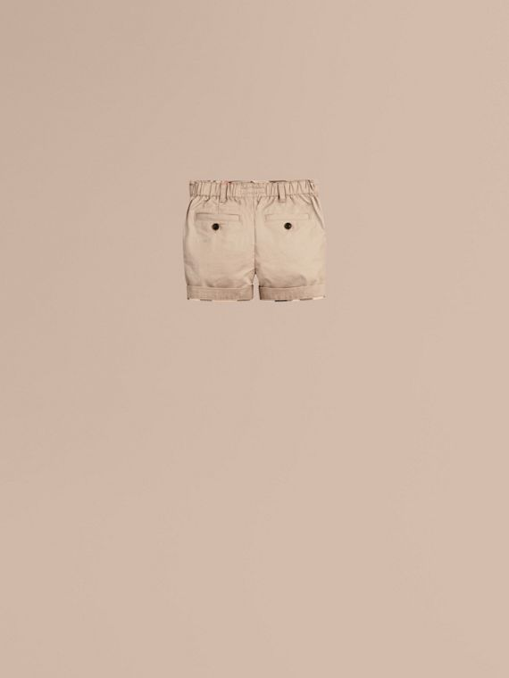 Taupe Check Detail Cotton Chino Shorts Taupe - cell image 3
