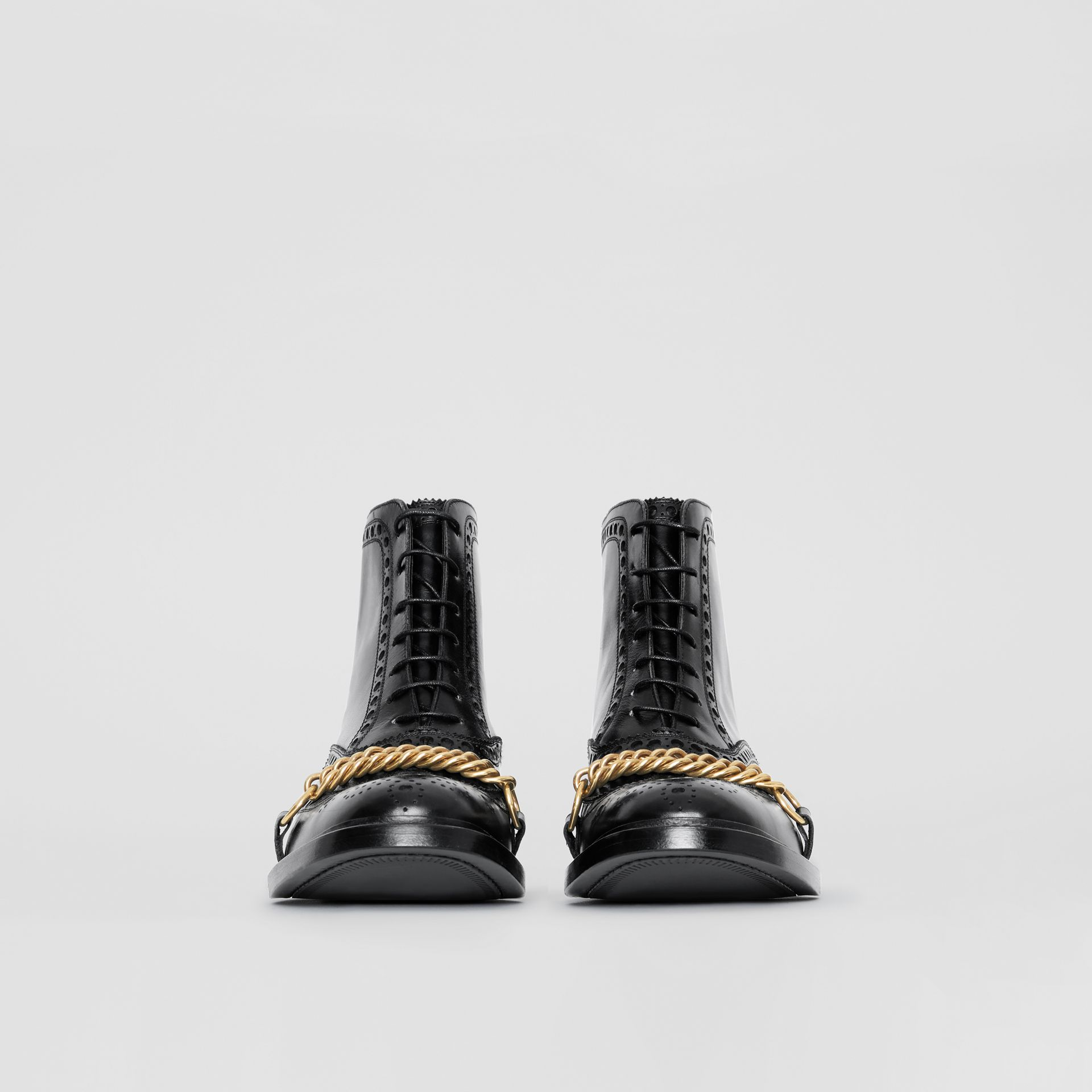 Link and Brogue Detail Leather Boots in Black - Women | Burberry - gallery image 3