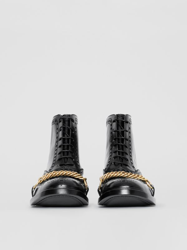 Link and Brogue Detail Leather Boots in Black - Women | Burberry - cell image 3