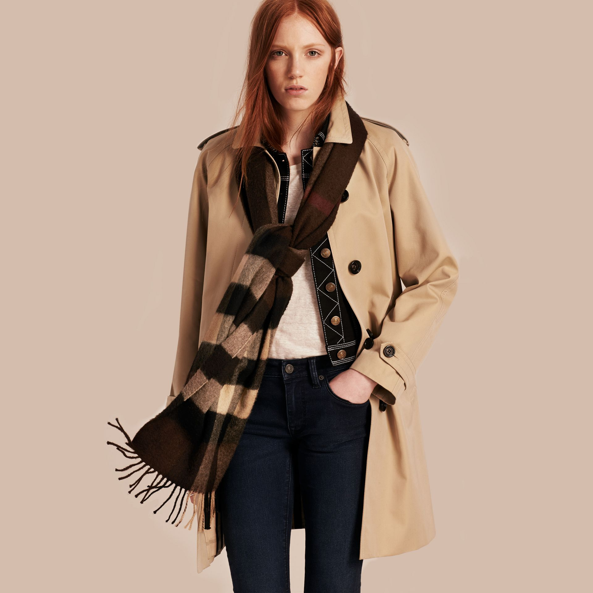 Dark chestnut brown check Giant Exploded Check Cashmere Scarf - gallery image 3