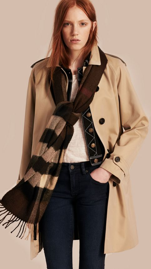 Dark chestnut brown check Giant Exploded Check Cashmere Scarf Dark Chestnut Brown - Image 3