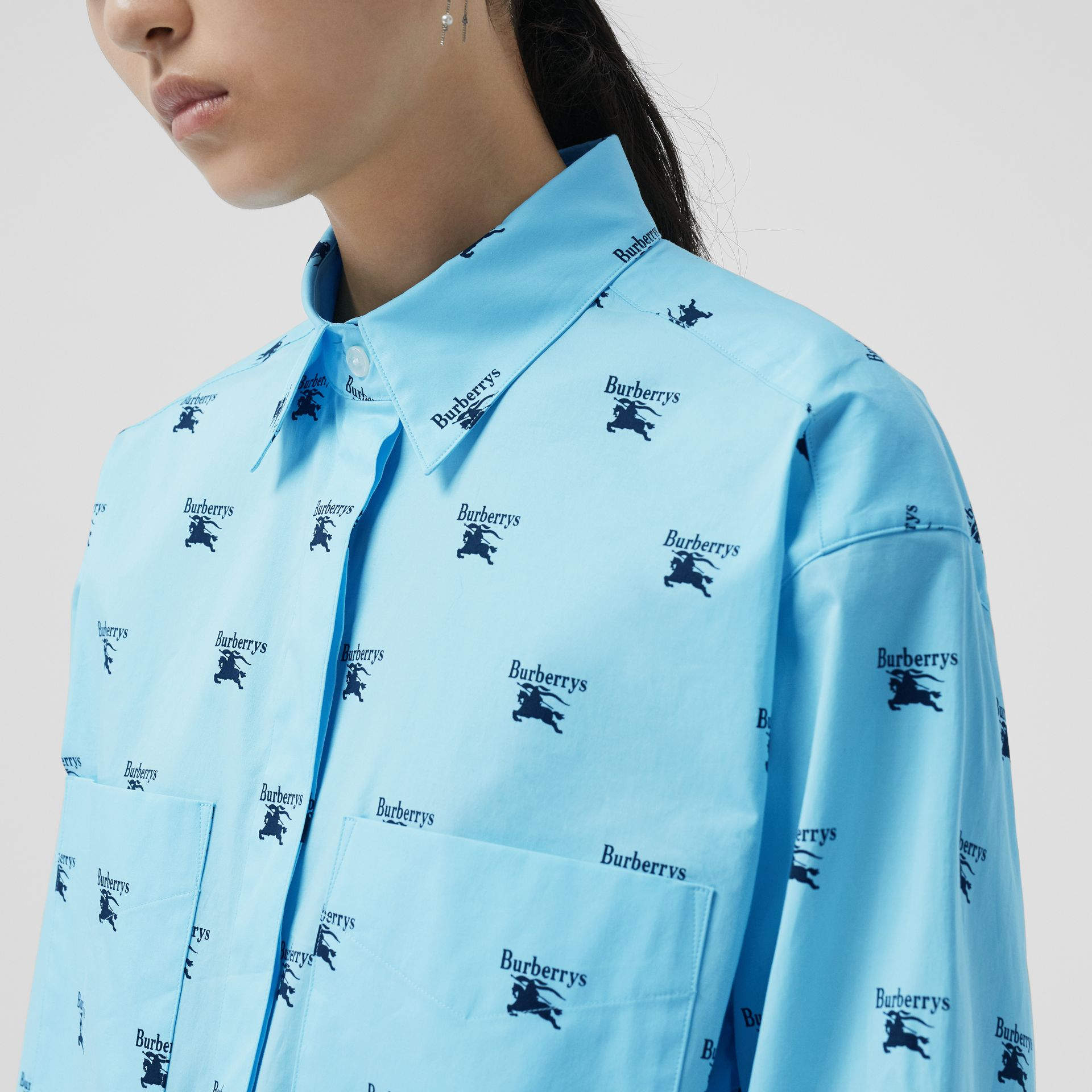 Logo Print Stretch Cotton Shirt in Sky Blue - Women | Burberry Australia - gallery image 1
