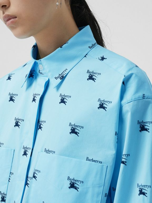 Logo Print Stretch Cotton Shirt in Sky Blue - Women | Burberry Australia - cell image 1