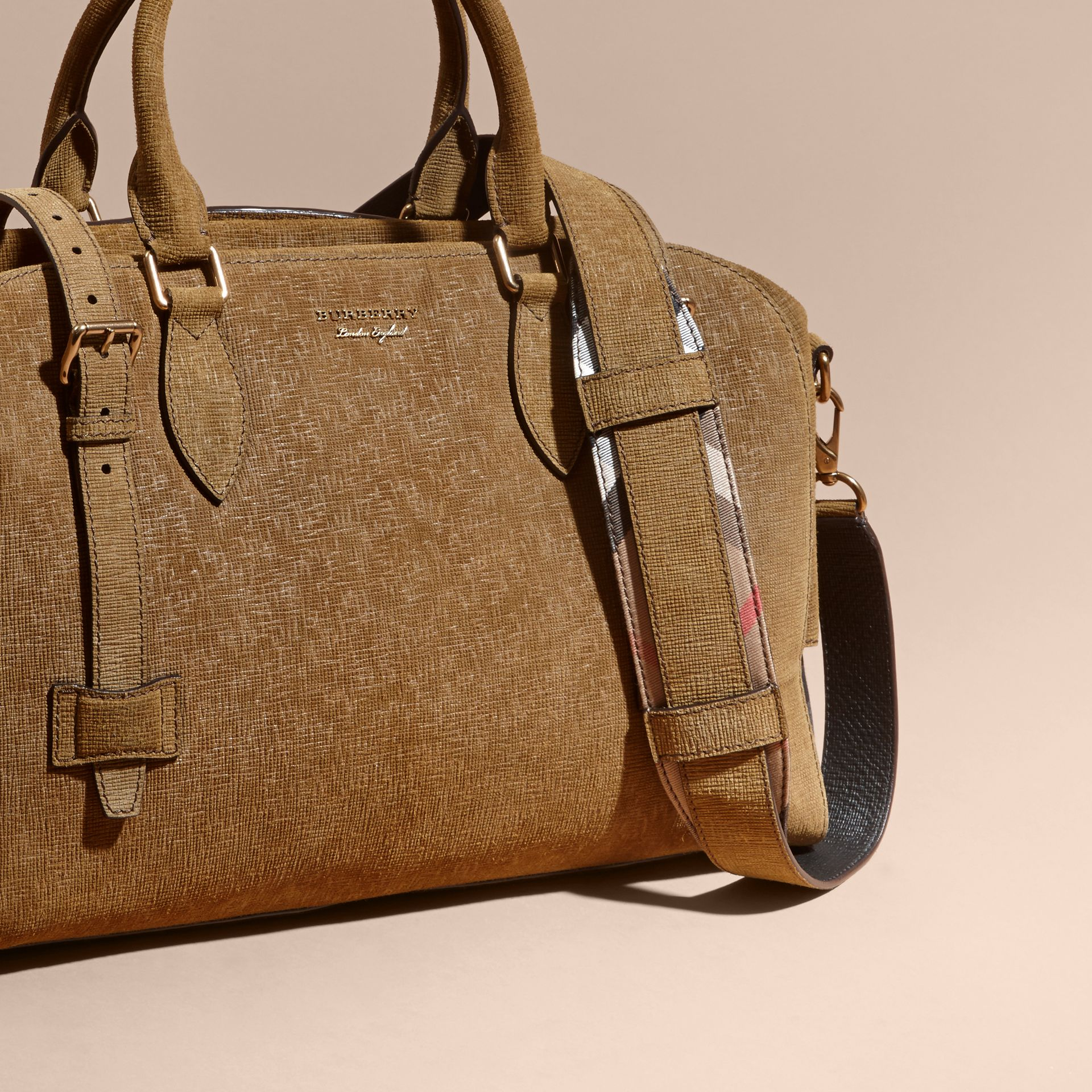Textured Suede and House Check Detail Holdall - gallery image 8