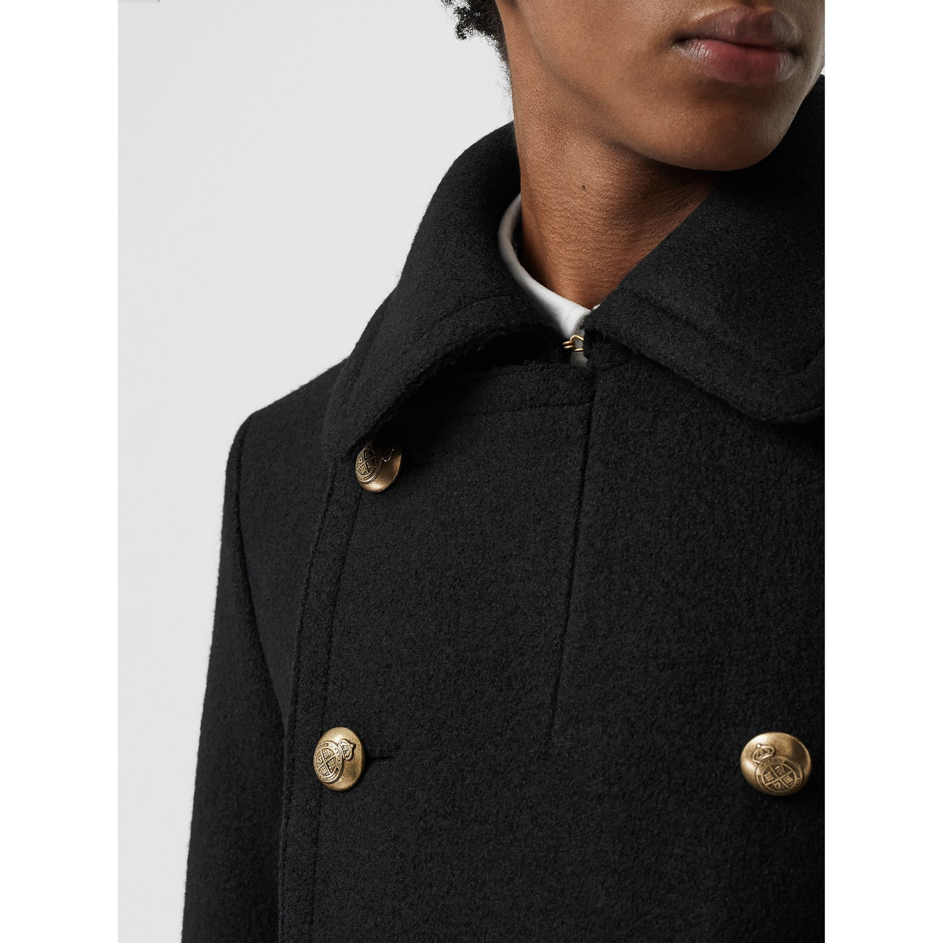 Detachable Shearling Collar Wool Pea Coat in Black - Men | Burberry - gallery image 1