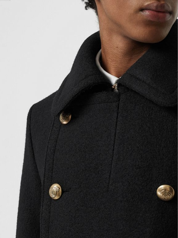 Detachable Shearling Collar Wool Pea Coat in Black - Men | Burberry - cell image 1