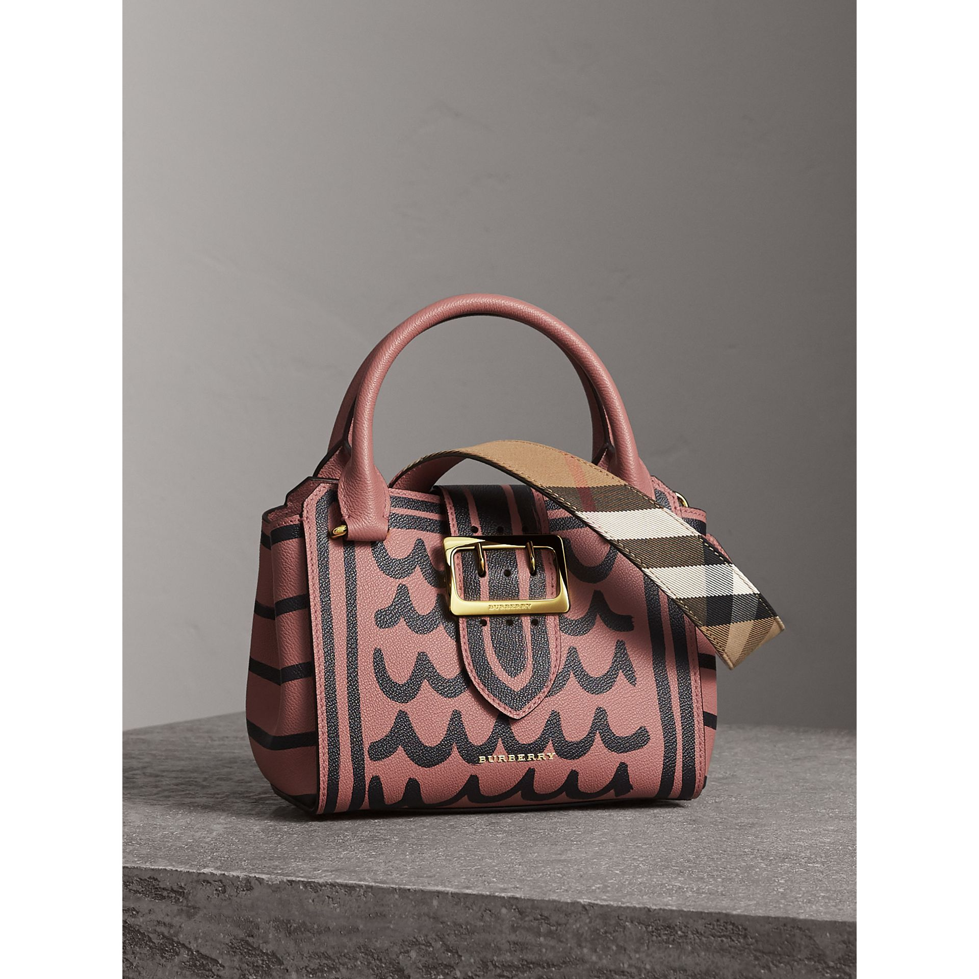 The Small Buckle Tote in Trompe L'oeil Print Leather in Dusty Pink - Women | Burberry Singapore - gallery image 9
