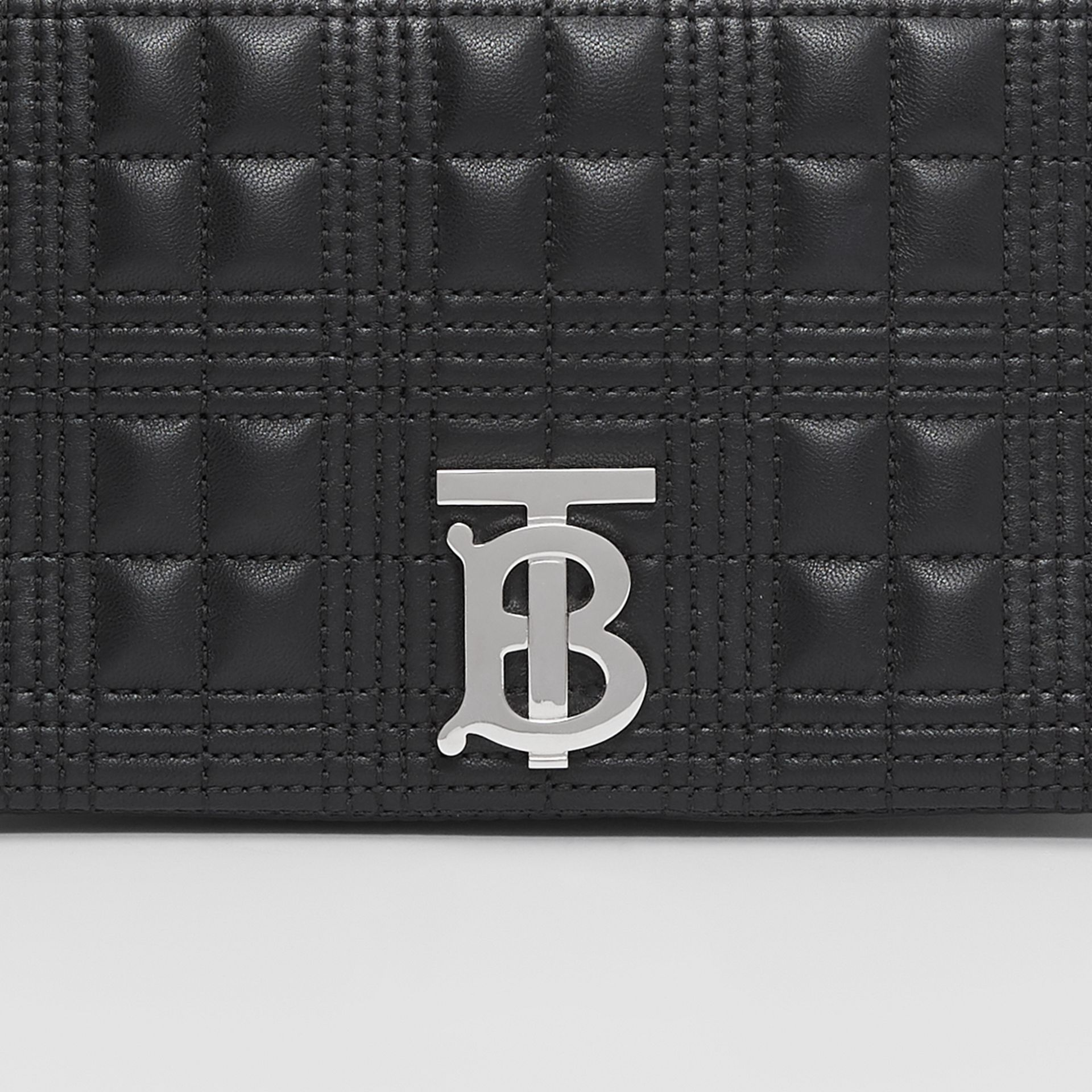 Small Crystal Detail Quilted Check Lambskin Lola Bag in Black - Women | Burberry - gallery image 1