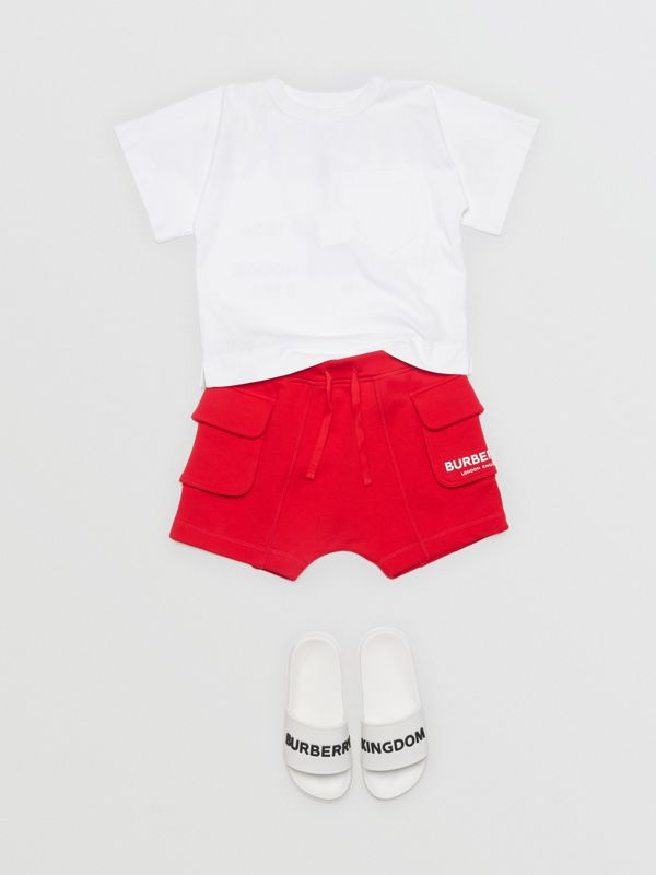 Logo Print Cotton Drawcord Shorts in Bright Red | Burberry - cell image 3