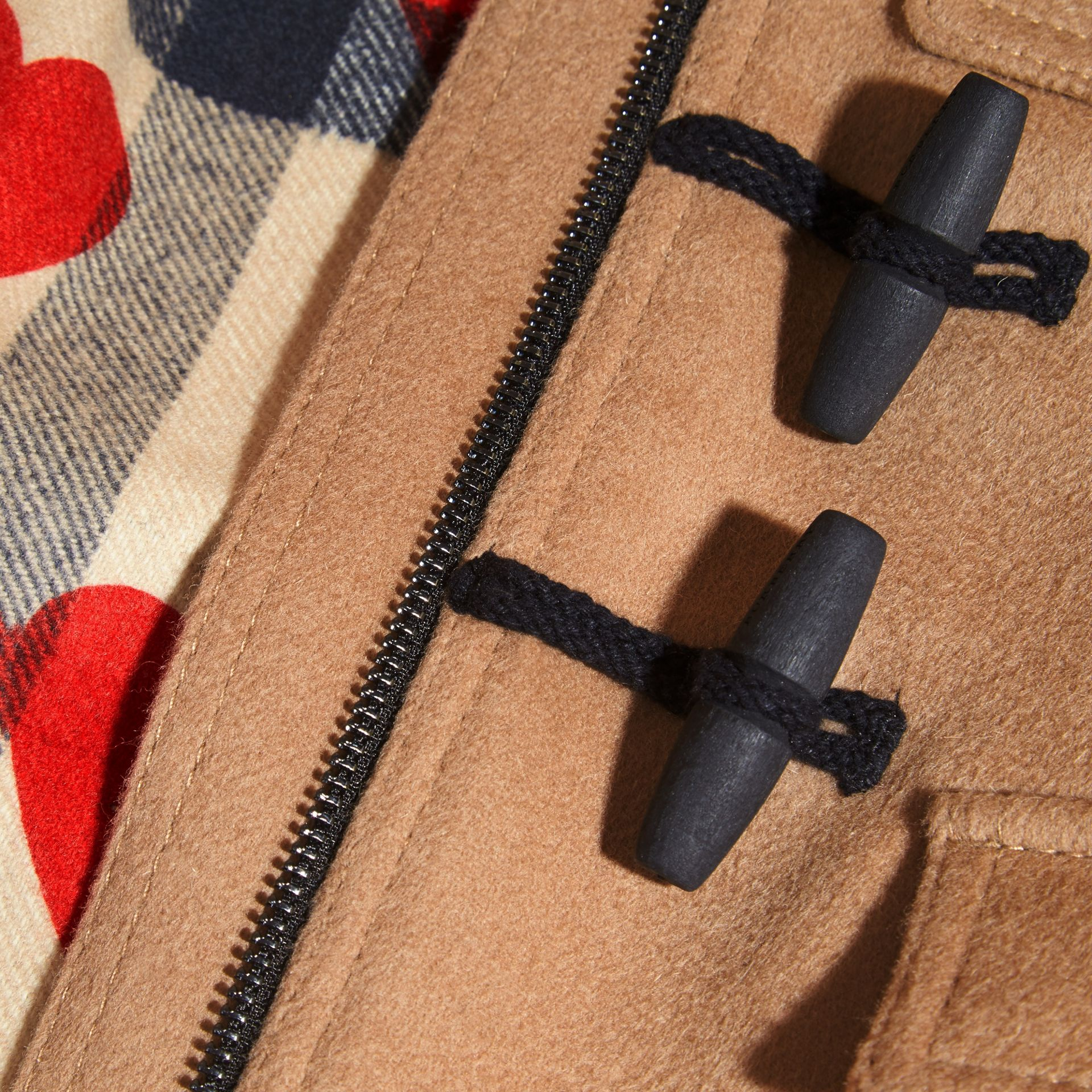 New camel Wool Duffle Coat with Check and Hearts Lining - gallery image 2