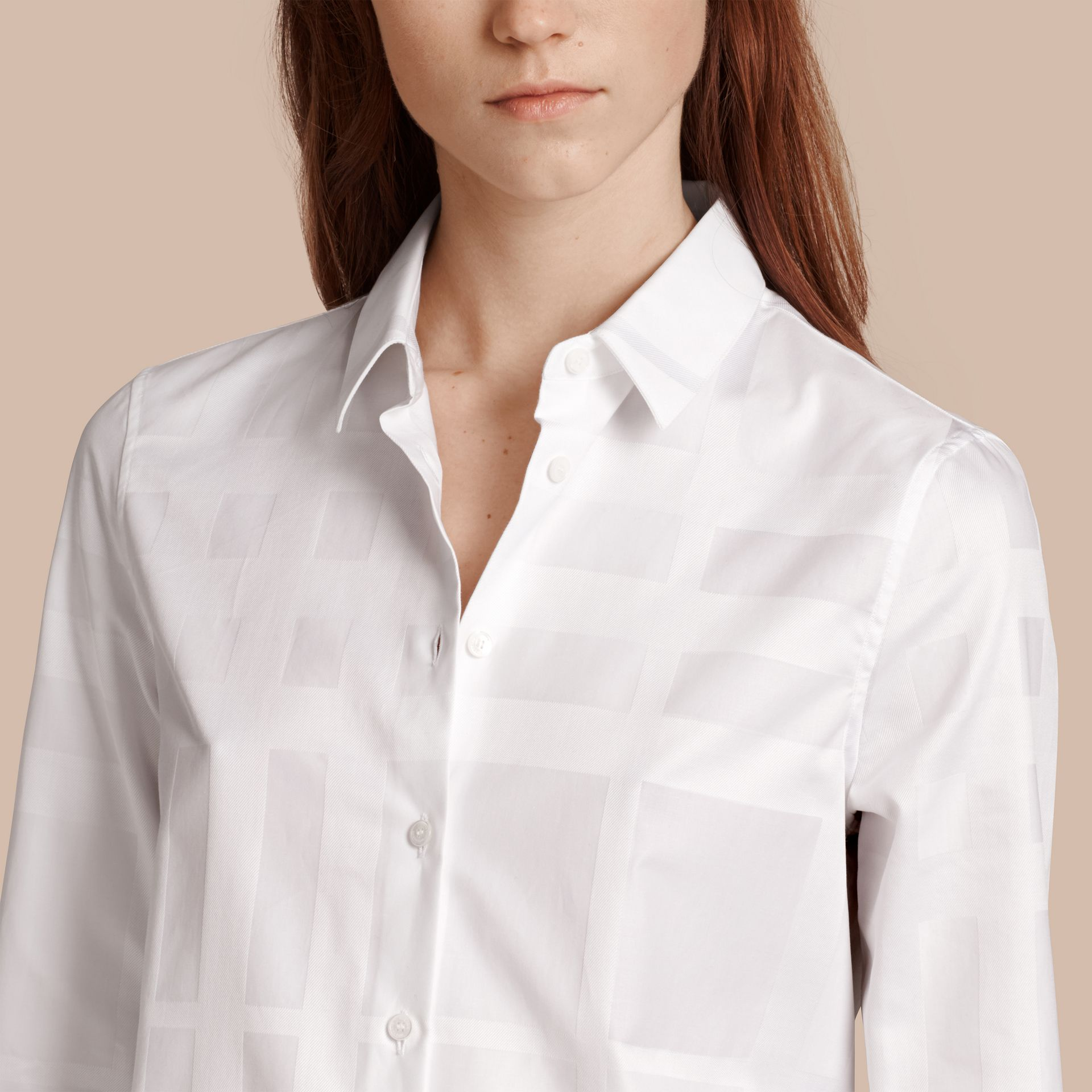 White Check Jacquard Cotton Shirt White - gallery image 5