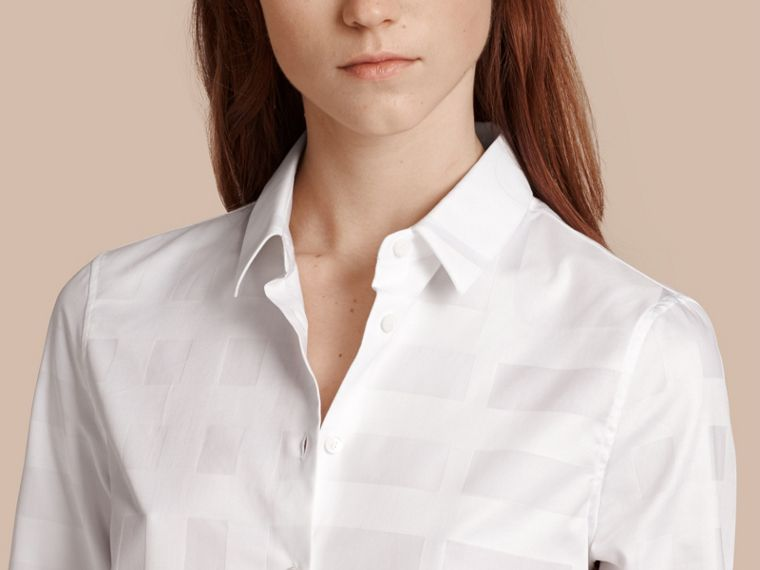Check Jacquard Cotton Shirt White - cell image 4