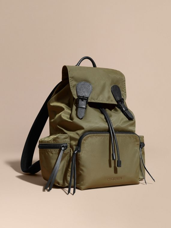 The Large Rucksack in Technical Nylon and Leather Canvas Green