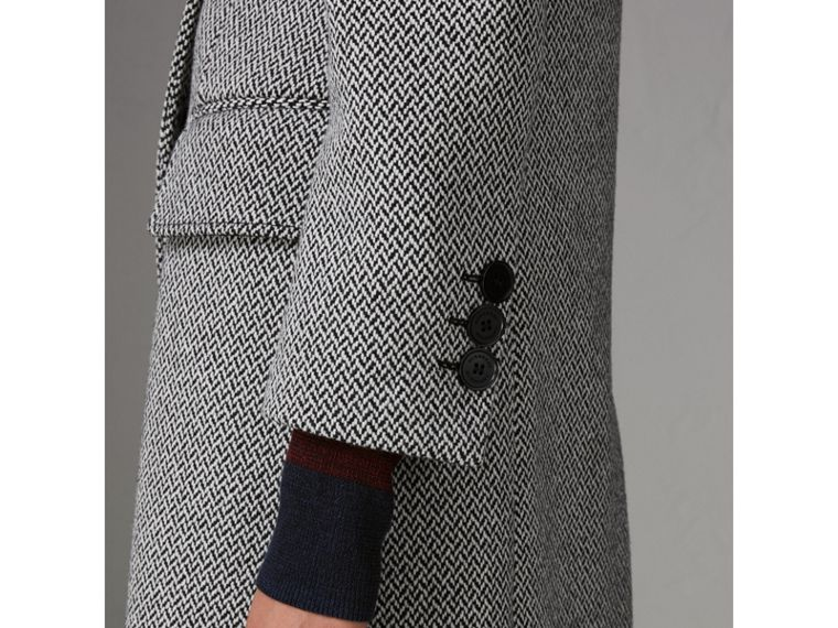 Herringbone Wool Blend Tailored Coat in Black/white - Women | Burberry - cell image 4
