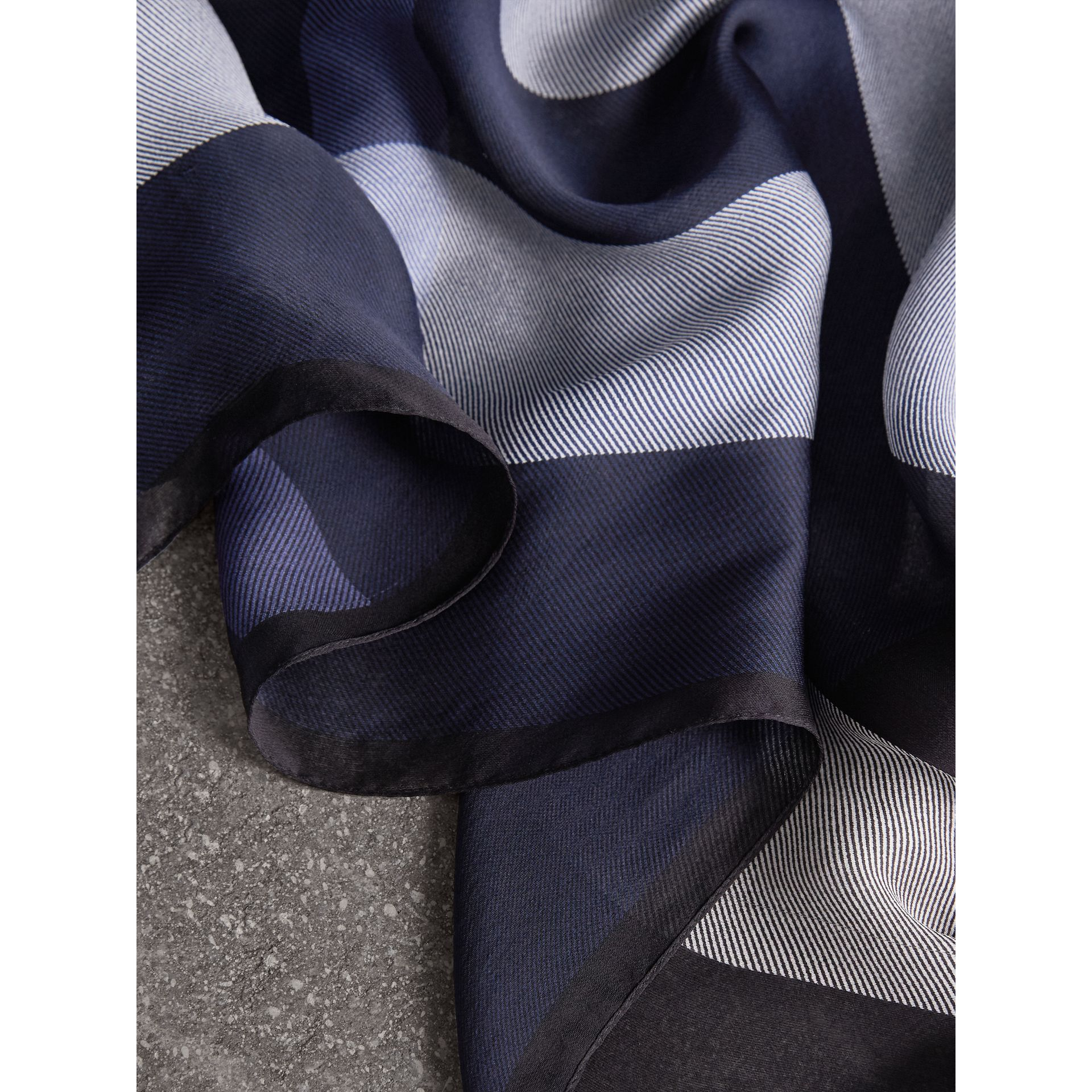Lightweight Check Silk Scarf in Indigo Blue - Women | Burberry - gallery image 1