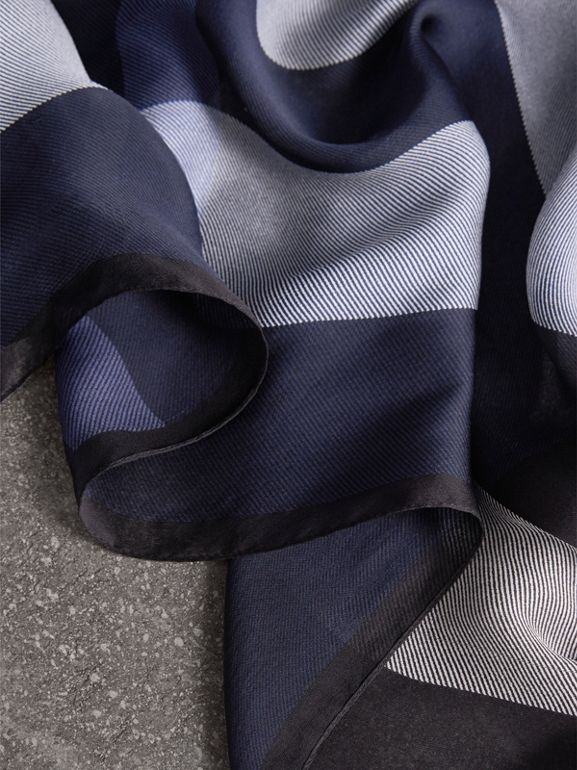 Lightweight Check Silk Scarf in Indigo Blue - Women | Burberry - cell image 1
