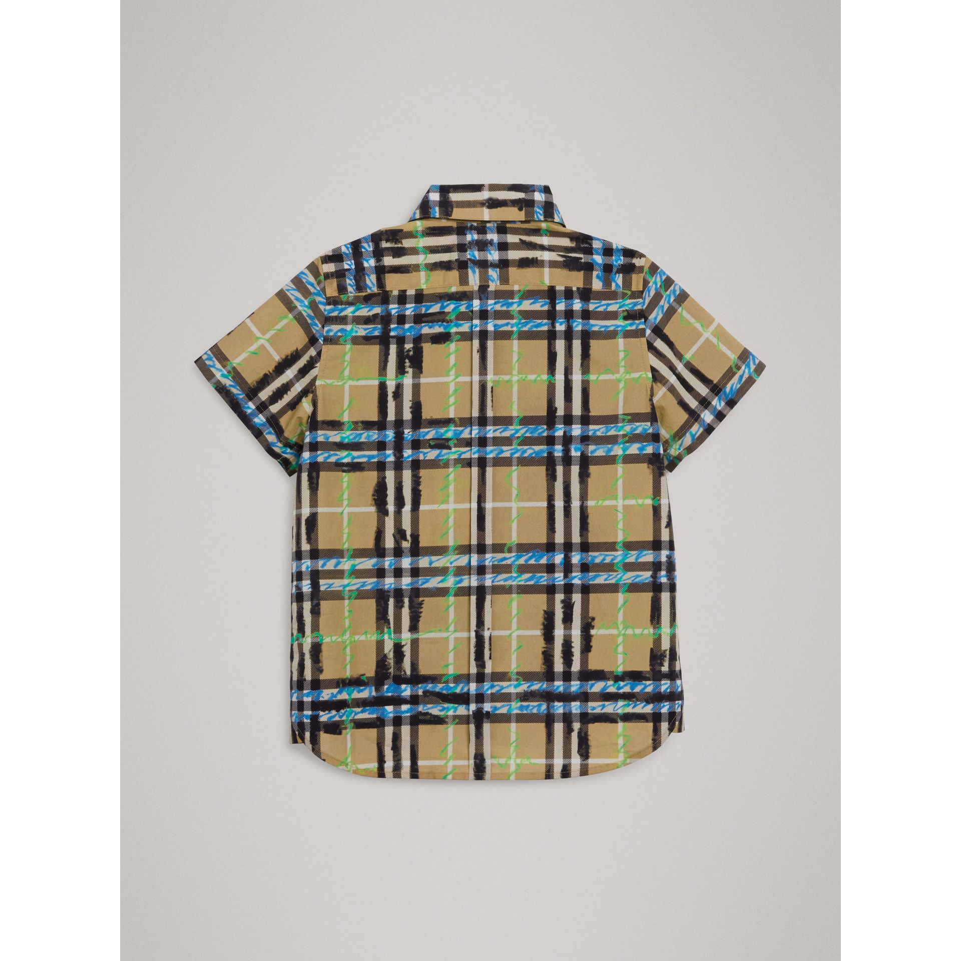 Short-sleeve Scribble Check Cotton Shirt in Bright Blue - Boy | Burberry United Kingdom - gallery image 3