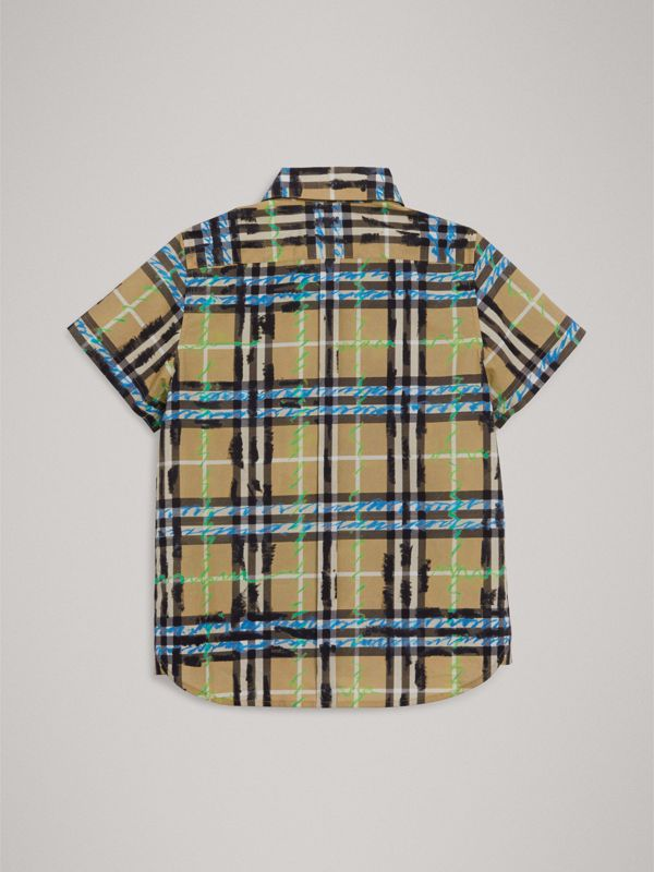 Short-sleeve Scribble Check Cotton Shirt in Bright Blue - Boy | Burberry United Kingdom - cell image 3