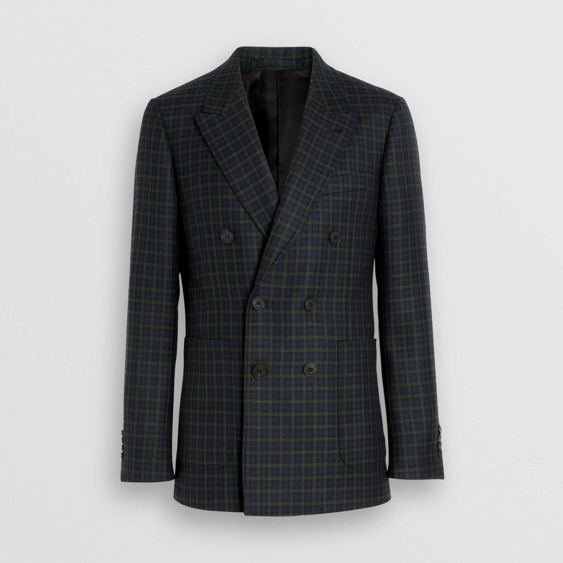 Slim Fit Tartan Wool Tailored Jacket in Navy - Men | Burberry - gallery image 3