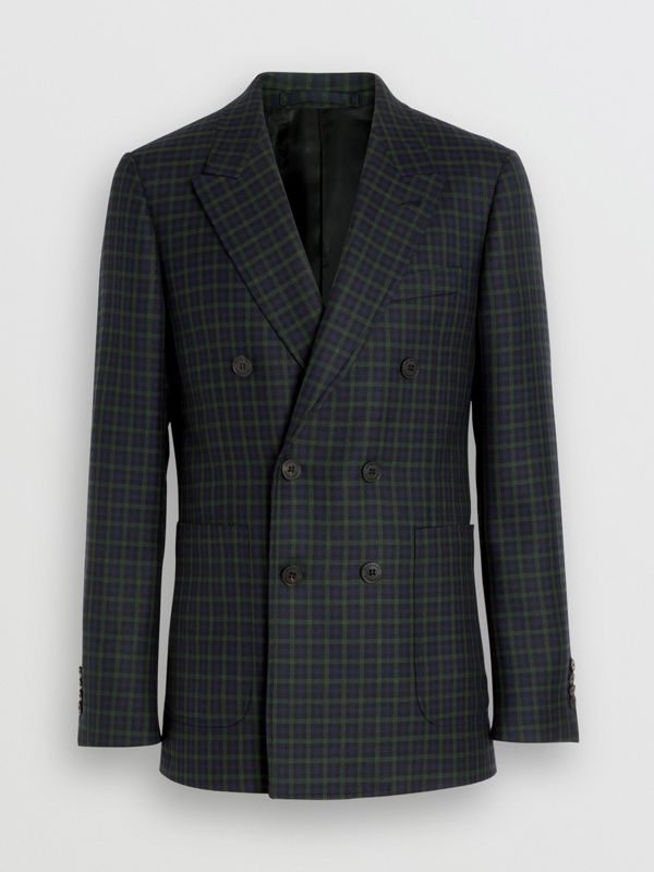 Slim Fit Tartan Wool Tailored Jacket in Navy - Men | Burberry - cell image 3