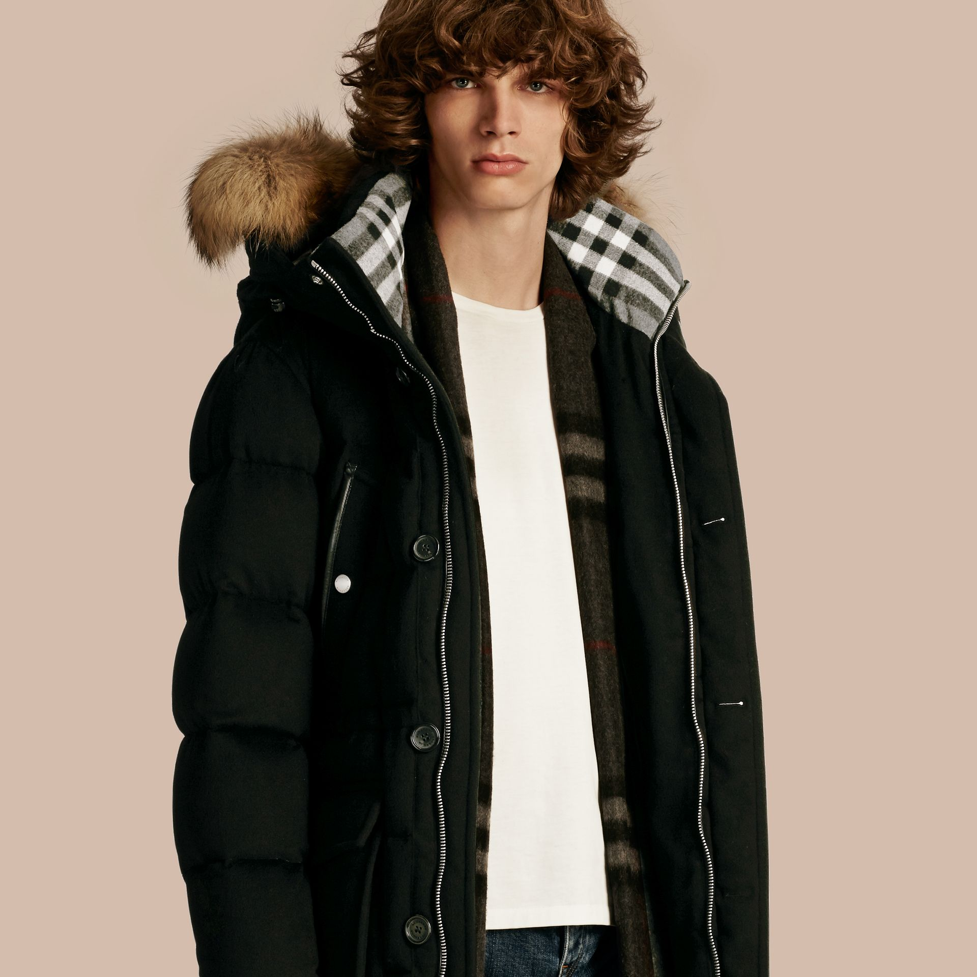 Down-filled Cashmere Parka with Detachable Fur Trim in Black - gallery image 1